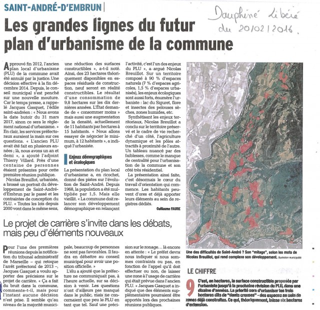 Réunion publique Saint André d'Embrun